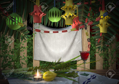 42026104-Symbols-of-the-Jewish-holiday-Sukkot-with-palm-leaves-and-candle-Stock-Photo